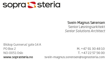 Svein-Magnus Sørensens current business card